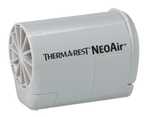 The Therm-a-rest Mini Pump works off 2 AAA batteries.