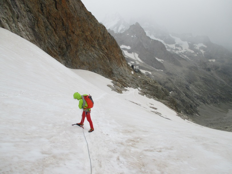 Glad of my Arc'teryx Alpha FL Jacket as the weather takes a turn for the worst on the approach to Refuge du Promontoire, Ecrins, France.