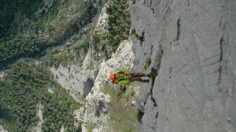 """Arc'teryx Alpha FL Jacket - descending after the classic 18 pitch rock route, Rankxerox on Tete d""""Aval, Ecrins France."""