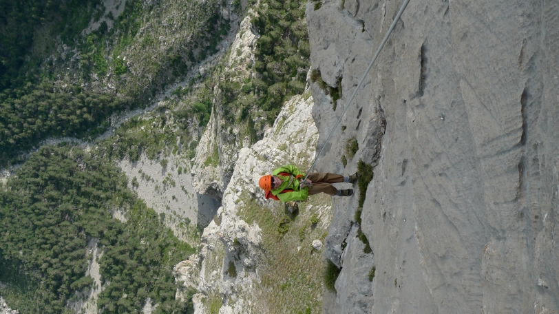 "Arc'teryx Alpha FL Jacket - descending after the classic 18 pitch rock route, Rankxerox on Tete d""Aval, Ecrins France."