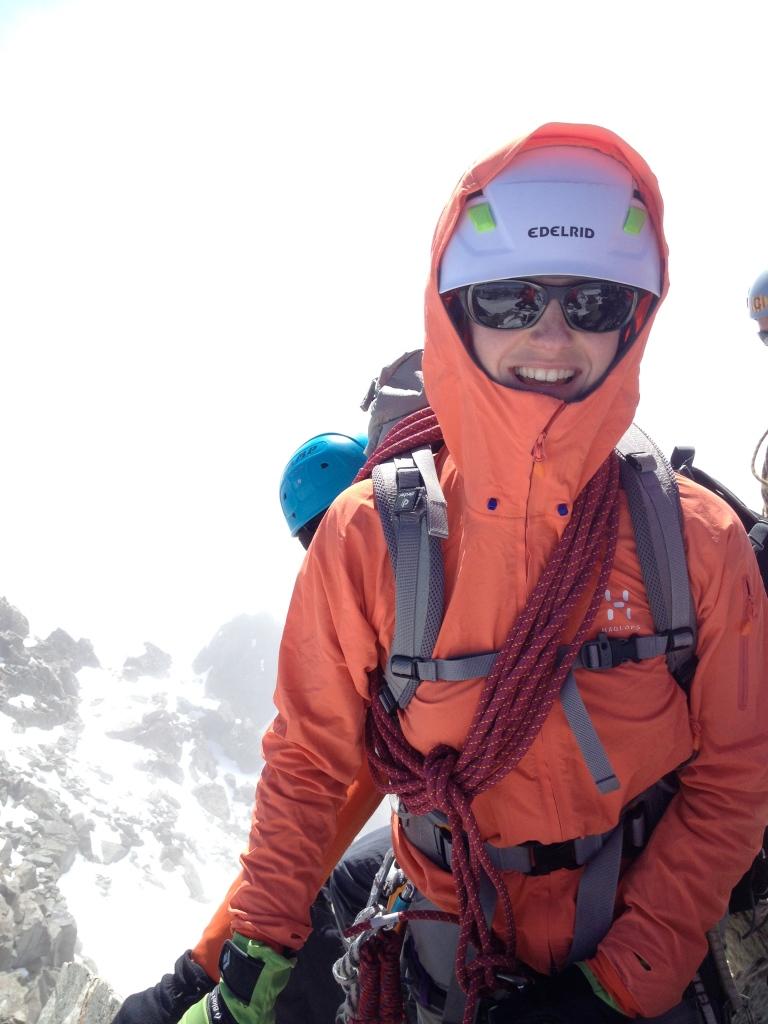 Haglöfs Skarn Q Hood - a great jacket for alpine climbing. Summit of Pic De La Grave, Ecrins, France.
