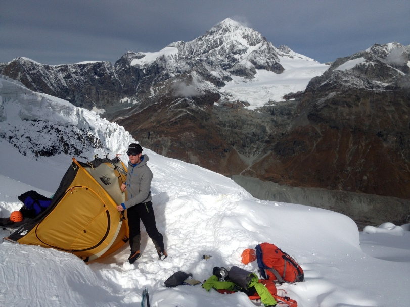 Patagonia Nano-Air Hoody: sorting out camp below the Matterhorn's Hornli Ridge before climbing the North Face.
