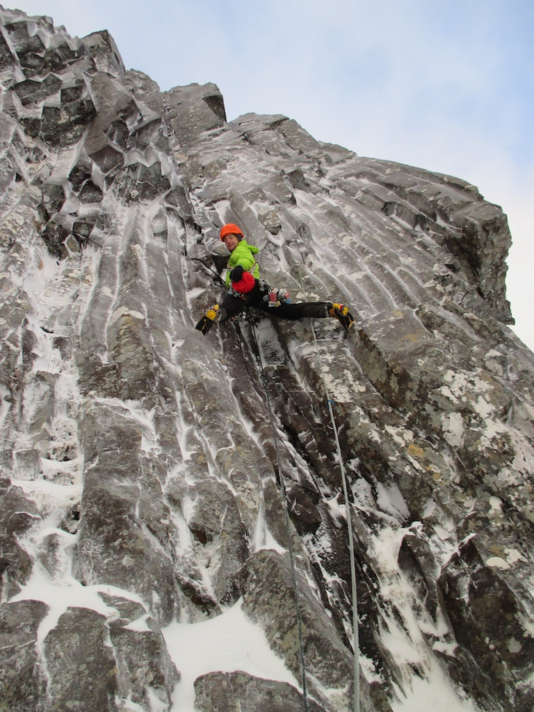 Kev leading off up pitch one of Central Grooves, VII 7, Stob Coire Nan Lochan 20/12/2014