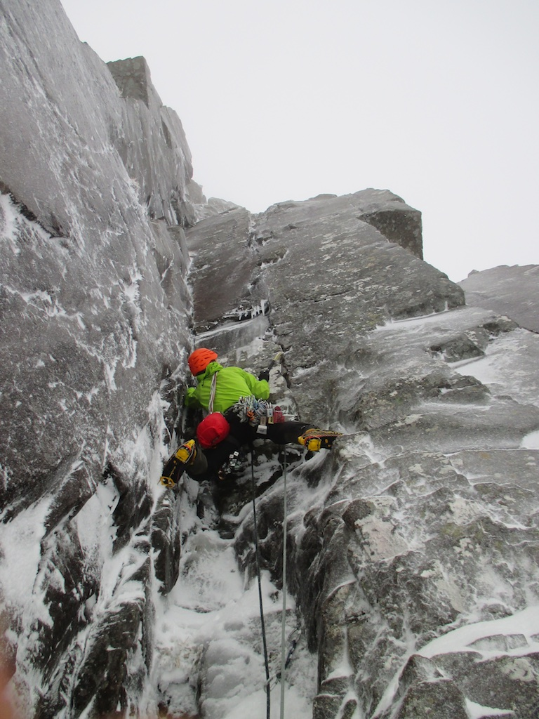 Kev heading off up pitch 2, Central Grooves, Stob Coire Nan Lochan, 20/12/2014