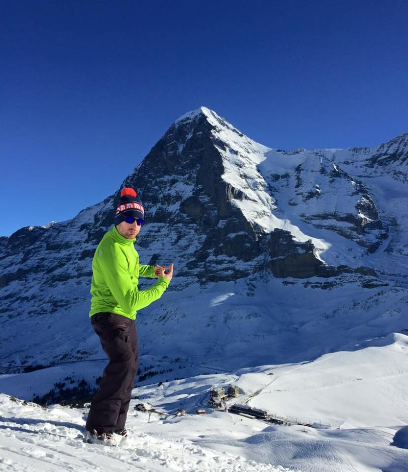 James just hanging out near the Eiger North Face in his The North Face Storm Shadow Jacket (it's over there!)