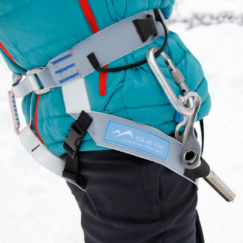 This image shows the ice screw keepers in action as well as the position of the gear loops and clipper slots.