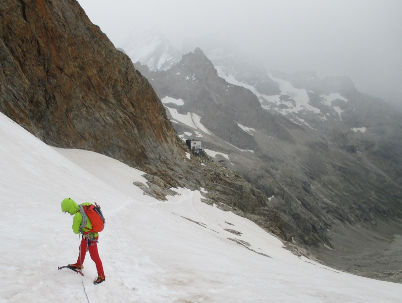 Using the DMM Switch whilst crossing a section of glacier on the way to Refuge du Promontoire in the Ecrins, France. It is versatile enough to be used as an all round tool, but you need to accept that it will have limitations too.