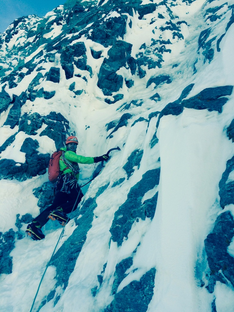 The DMM Switch ice tools worked well on less than vertical ice such as that found on the Matterhorn's classic north face outing, the Schmidt Route.