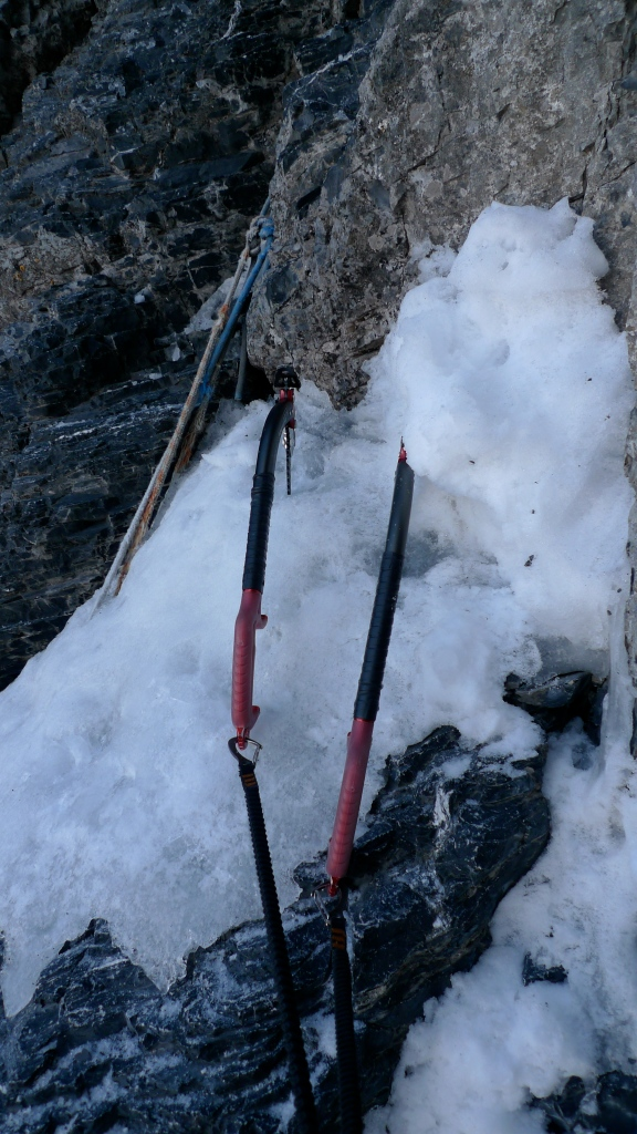 The DMM Switch ice tools. Large solid grips, attached using umbilical leashes for extra security.