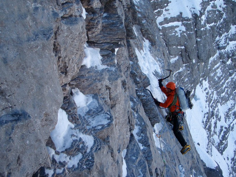 The DMM Switch ice tools in full swing on the classic 1938 Route, Eiger North Face. A climb like this covers a variety of technical and not so technical ice and mixed ground and was great test for the Switch tools.