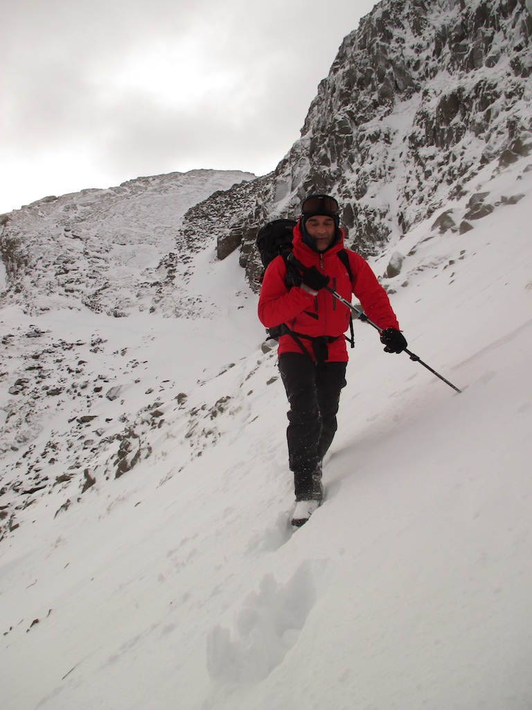 Deep snow in the gully approaching Bowfell Buttress