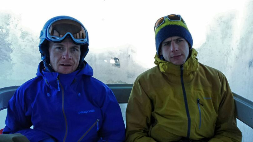 Patagonia Untracked Jacket (left) - brilliant collar and superb hood! On the  La Grave lift.