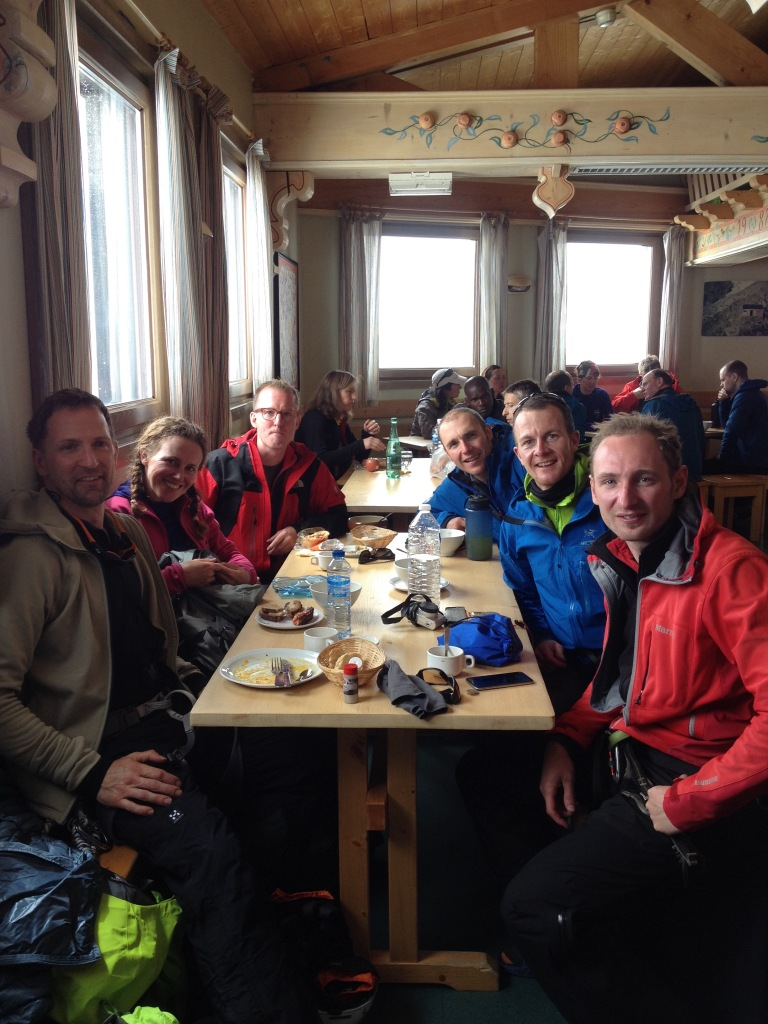 Lunch stop in the Cosmiques Refuge during the Basic Mountaineering Education clinic. A great bunch of people.