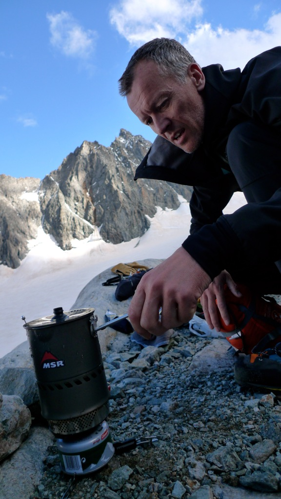 MSR Reactor Stove - boiling water at a bevy site opposite Barres Des Ecrins