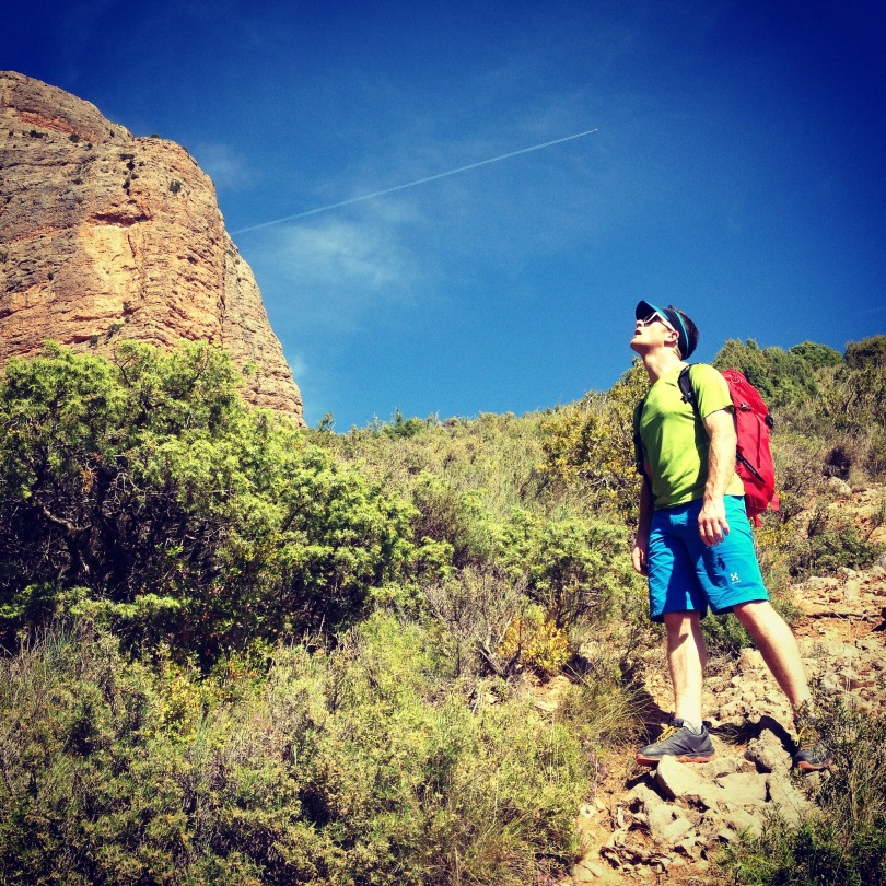Häglofs Lizard Shorts - checking out the routes at Riglos, Spain.