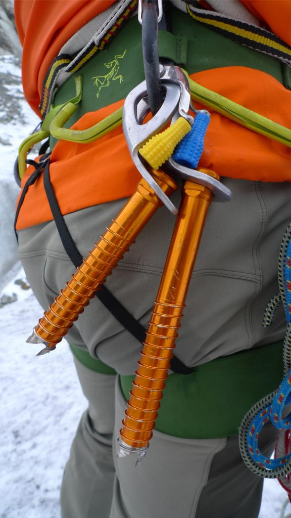 Petzl Laser Speed Light Ice Screw - rack neatly on a Petal ice screw clipper.