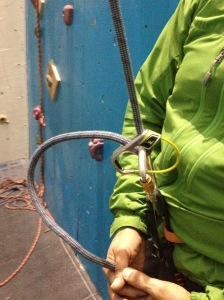 The Edelrid Jul2 in 'locked' mode. Notice I still have my hands on the rope.