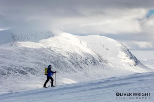 Perfect for any mountain day. Snow shoe hiking in Swedish Lapland. Photo copyright of Oliver Right Photography.