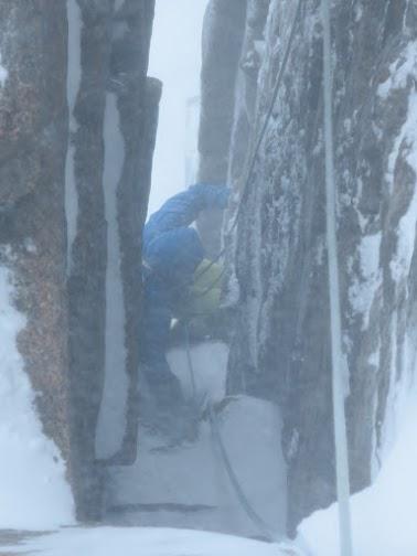 Vanir LT Pants exiting the top of Savage Slit in the Cairngorms.