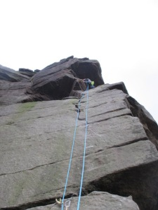60m is great for Gritstone climbing -Dave high on route at Stanage Edge in the UK.