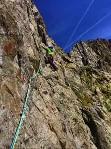 The Sherpa Khumbu pants were great to climb in. Climbing Koubal on the Petite Floria, Aiguilles Rouge in Chamonix.