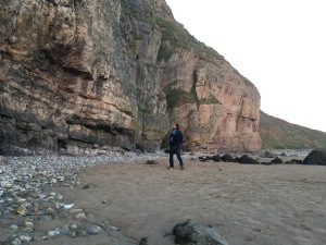 Too old to be hip - but I'm trying hard in the new Rab Pioneer, checking out the routes at Brean Down, Somerset.