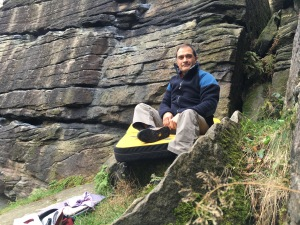 The Rab Pioneer is perfect for those cold days bouldering. Resting at Shipley Glen, Yorkshire.