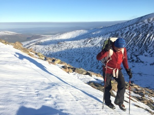 The stiff sole gave great security when side stepping up steep snow.